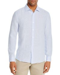 Bloomingdale's Linen Stripe Classic Fit Shirt - White