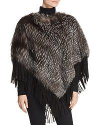 Maximilian Suede - Trim Silver Fox Fur Poncho - Multicolor