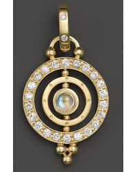 Temple St. Clair - 18k Yellow Gold Mini Tolomeo Pendant With Royal Blue Moonstone And Diamonds - Lyst