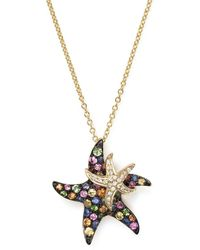 Bloomingdale's Multi Sapphire And Diamond Starfish Pendant Necklace In 14k Yellow Gold - Metallic