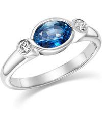 Bloomingdale's - Blue Sapphire & Diamond Bezel Ring In 14k White Gold - Lyst