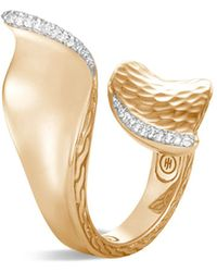 John Hardy - 18k Yellow Gold Classic Chain Pavé Diamond Wave Hammered Bypass Ring - Lyst