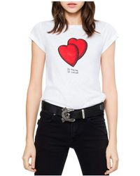 Zadig & Voltaire Crewneck Short-sleeve T-shirt With Heart-graphics - White
