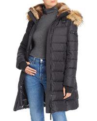Aqua Faux Fur Trim Hooded Puffer Coat - Black
