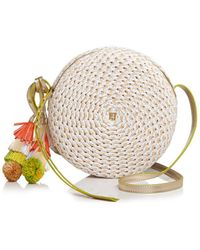 Eric Javits Women's Squishee Bali Raffia Circle Crossbody Bag - Coral Mix - Multicolor