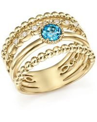 Bloomingdale's - Diamond & Blue Topaz Wide Beaded Band In 14k Yellow Gold - Lyst
