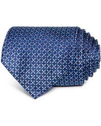 Bloomingdale's Micro Grid Silk Classic Tie - Blue