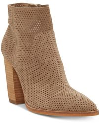 Vince Camuto Women's Cava Perforated Stacked Heel Booties - Natural