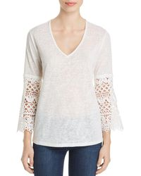 Sioni Lace - Sleeve V - Neck Top - White