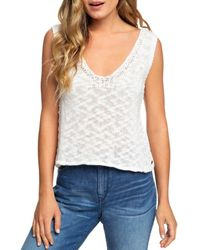 Roxy Textured - Knit Sleeveless Top - White