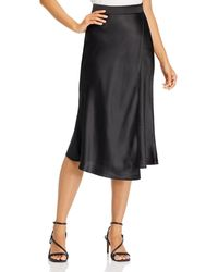 Aqua Faux Wrap Satin Midi Skirt - Black