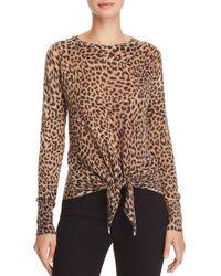 Olivaceous Leopard - Print Tie - Front Jumper - Brown