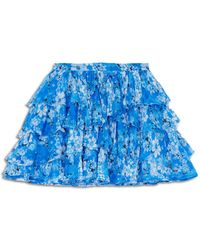 The Kooples Flowing Floral Print Frilly Skirt - Blue