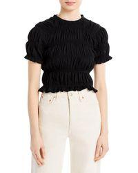 Aqua Ruched Short Sleeve Top - Black