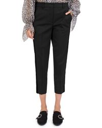 The Kooples Velvet - Stripe Cropped Pants - Black