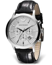 Armani Emporio Round Chronograph Watch With Black Strap