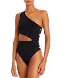 OYE Swimwear Rhea Cutout One Shoulder One Piece Swimsuit - Black