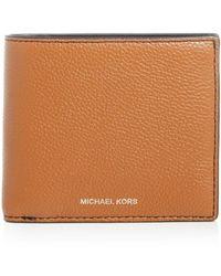 Michael Kors Mason Pebbled Leather Bi - Fold Wallet - Brown