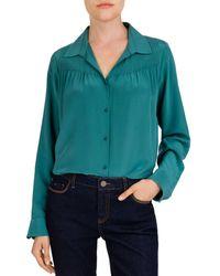 Gerard Darel Margaret Shirred Silk Blouse - Green