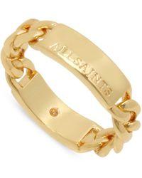 AllSaints Logo Etched Frozen Chain Band Ring - Metallic
