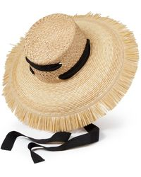 Helene Berman Straw Fringe Hat - Multicolor