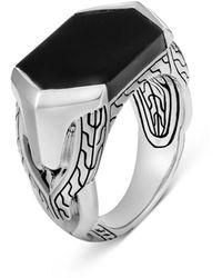 John Hardy Men's Asli Classic Chain Signet Ring - Black