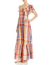 Carolina K Una One - Shoulder Printed - Silk Maxi Dress - Multicolour