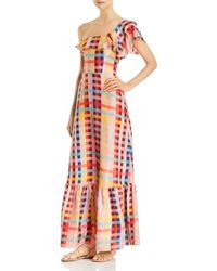 Carolina K - Una One-shoulder Printed-silk Maxi Dress - Lyst