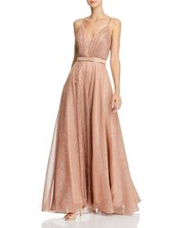 Aqua Pleated Metallic Gown - Pink
