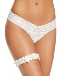 Hanky Panky - Pearl & Bow Ruched Garter - Lyst