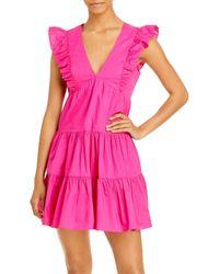 Aqua Ruffled Mini Dress - Pink