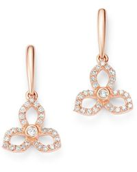 Bloomingdale's Diamond Flower Drop Earrings In 14k Rose Gold - Pink