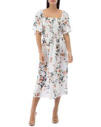 B Collection By Bobeau Mathilde Smocked Flutter - Sleeve Dress - Multicolour