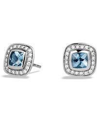 David Yurman - Petite Albion Earrings With Blue Topaz And Diamonds - Lyst