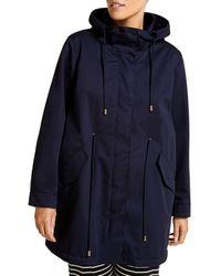 Marina Rinaldi Tamkebis Hooded Raincoat - Blue