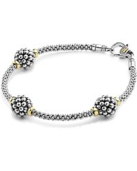 Lagos Sterling Silver Bracelet With Caviar Stations - Metallic
