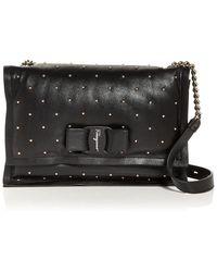 Ferragamo Viva Roman Leather Shoulder Bag - Black