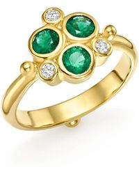 Temple St. Clair - 18k Yellow Gold Emerald Trio And Diamond Ring - Lyst