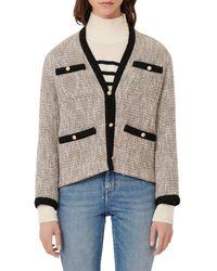 Maje Vinie Lurex Tweed Jacket With Contrasting Trim - Metallic