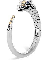 John Hardy - Brushed 18k Yellow Gold And Sterling Silver Legends Naga Small Kick Cuff With Sapphire Eyes - Lyst