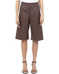 Peserico Leather Bermuda Shorts - Brown
