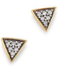 Adina Reyter - 14k Yellow Gold Pavé Diamond Super Tiny Triangle Stud Earrings - Lyst