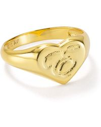 Argento Vivo - Signet Ring In 18k Gold - Plated Sterling Silver - Lyst