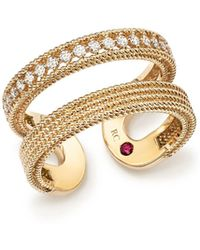 Roberto Coin | 18k Yellow Gold Symphony Diamond Double Ring | Lyst