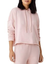 Eileen Fisher Cropped Boxy Cotton Hoodie - Pink