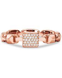 Michael Kors Mercer Link Sterling Silver Ring In 14k Gold - Plated Sterling Silver - Pink