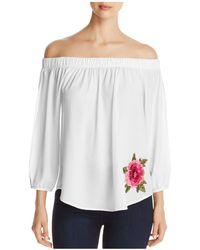 Kim & Cami Off-the-shoulder Floral Appliqué Top - White