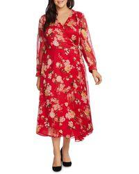 Vince Camuto Signature Vinve Camuto Plus Beautiful Blooms Midi Wrap Dress - Red
