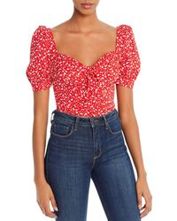 Bardot Puff - Sleeve Floral Cropped Top - Red