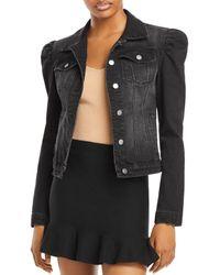 Aqua Puff Sleeve Denim Jacket - Black